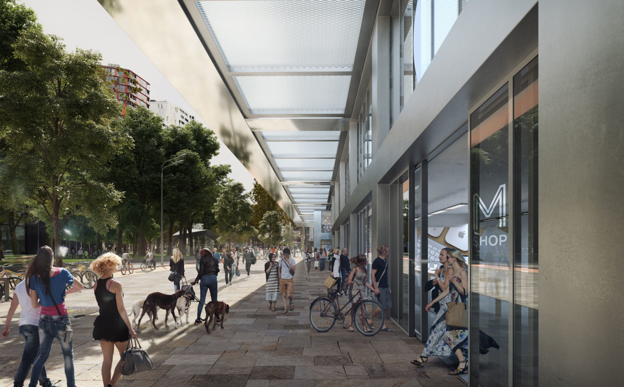 The lively, transparent plinth – below the wide office canopy that keeps the spacious walkway dry – is suitable for catering and retail outlets, which will fulfil an important intermediary role between The Modernist and the city.